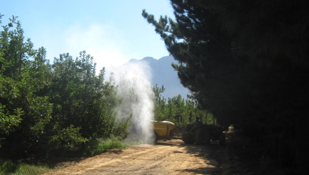 Pesticide application in orchards in the Lourens River catchment, South Africa (photo by U. Bangert)